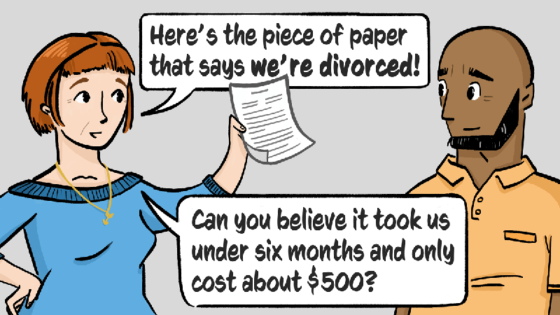 A former couple gets divorced without lawyers or having to appear in court.