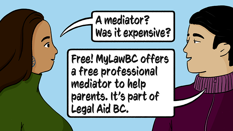 Liam's mom learns MyLaw BC services include a free professinaol mediator to help parents